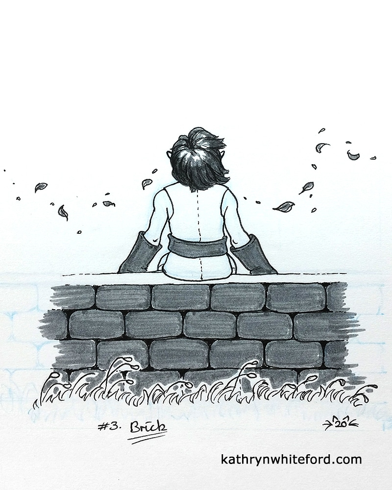 """Week 3 of #inktober52 !! The prompt was """"Brick."""" Took a while to settle on an idea for this one, lol. @inktober #inktober2020 @FaberCastell #ink #brick #foreverdrawingelvespic.twitter.com/H103jM7ITf"""