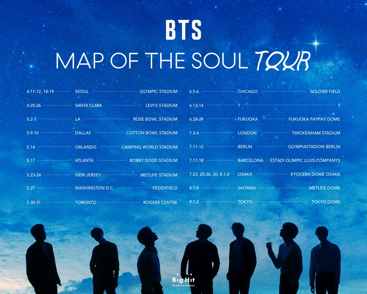 Bts Announces Map Of The Soul Tour Dates And Locations