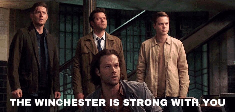 In case anyone out there needs to hear it today: May your road rise up to meet you But when it doesn't, May you fight with The strength of Dean The wisdom of Sam The compassion of Castiel  And the faith of Jack #YouAreNotAlone #AlwaysKeepFighting #WichesterStrong https://t.co/Ag3zlGqj2f