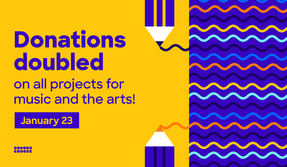 This Thursday, January 23, help bring the arts to life in classrooms across the country. All-day, donations to projects for music and the arts will be matched! #ArtsMatch   https://bit.ly/38aZWVL
