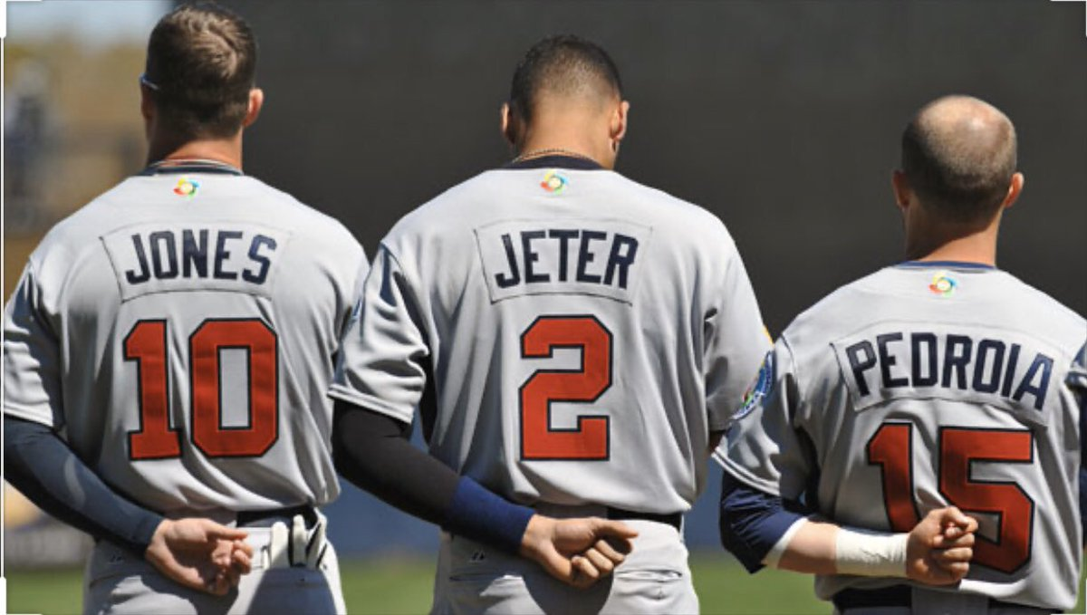 What Id give to have this picture autographed by these three gentleman... The Greatest In my book! @RealCJ10 @DerekJeter_2 @dustinpedroia13
