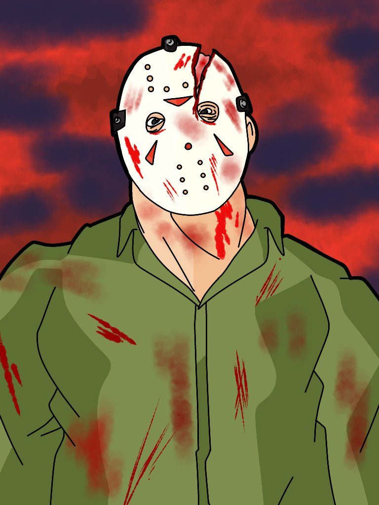 Practicing Blood wounds. (Trying to draw in a more traditional art style) #jasonvoorhees #fridaythe13th #fanart<br>http://pic.twitter.com/FxELQVkR7p