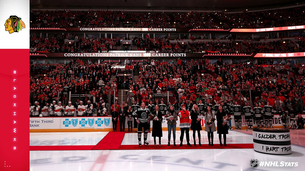 The @NHLBlackhawks celebrated @88pkane's 1000th NHL point in a pre-game ceremony at United Center. #NHLStats