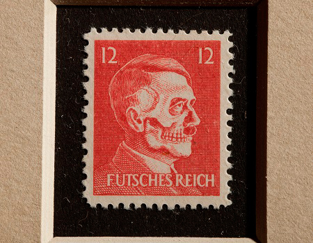 OSS Morale Operations were responsible for developing ways to demoralize the Nazis. Here is an example: a counterfeit German postage stamp with a skeletal version of Hitler's face to be placed on letters mailed in the German postal system.  https://www.cia.gov/about-cia/cia-museum/experience-the-collection/index.html#!/artifact/207…pic.twitter.com/IbOuSpQO08