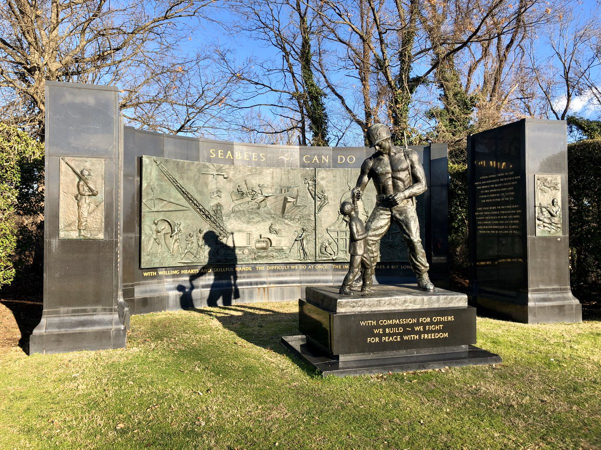 """During a freezing ride into the office, stopped outside @ArlingtonNatl to pay my respects at commemoration of the @USNavy Naval Construction Force, commonly known as the """"Seabees."""" They've been engaged everywhere from Guadalcanal to Inchon, Normandy to the Persian Gulf. #CanDo"""