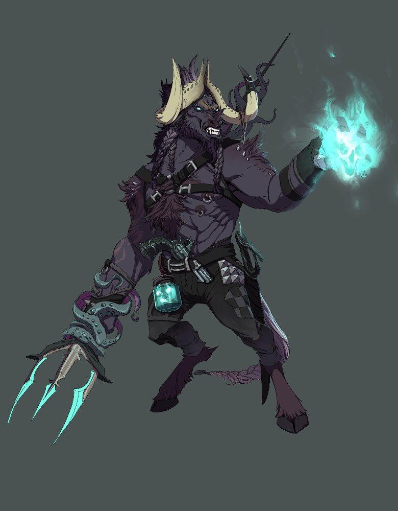 Elidur the Minotaur warlock.A commission.