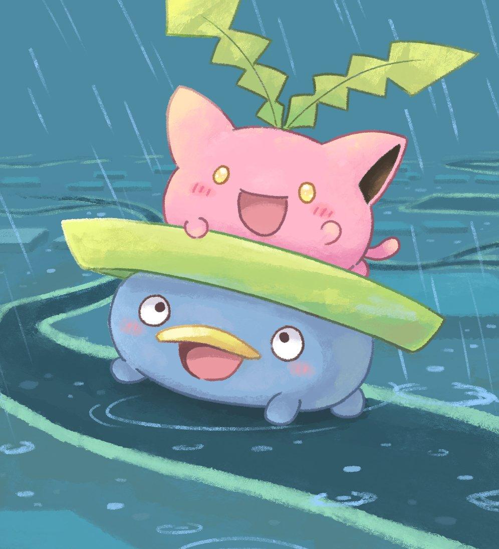 ハネッコ雨の日はハスボーに乗っておさんぽしてるの!?かわいすぎてやばいね…!!?