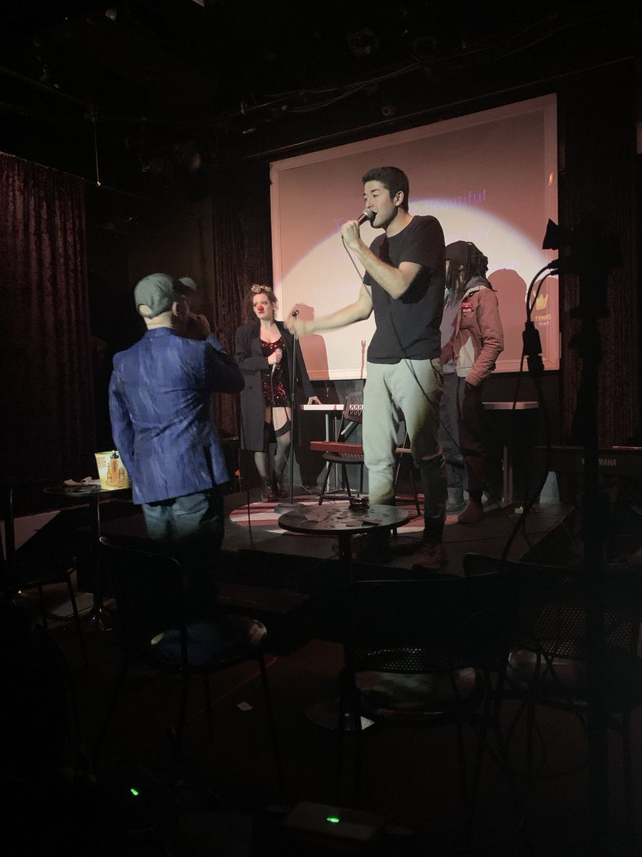 At #NYCTalentShow, you are #beautiful, no matter what they say 💜#Fun #Lol #Sing #Free #Sunday #Karaoke #DoThings #TipYourBartender #Queens #LongIslandCity #Hosts #Piano #Music #January @creekcavelic @varnadov @themadamebouge @officialcups