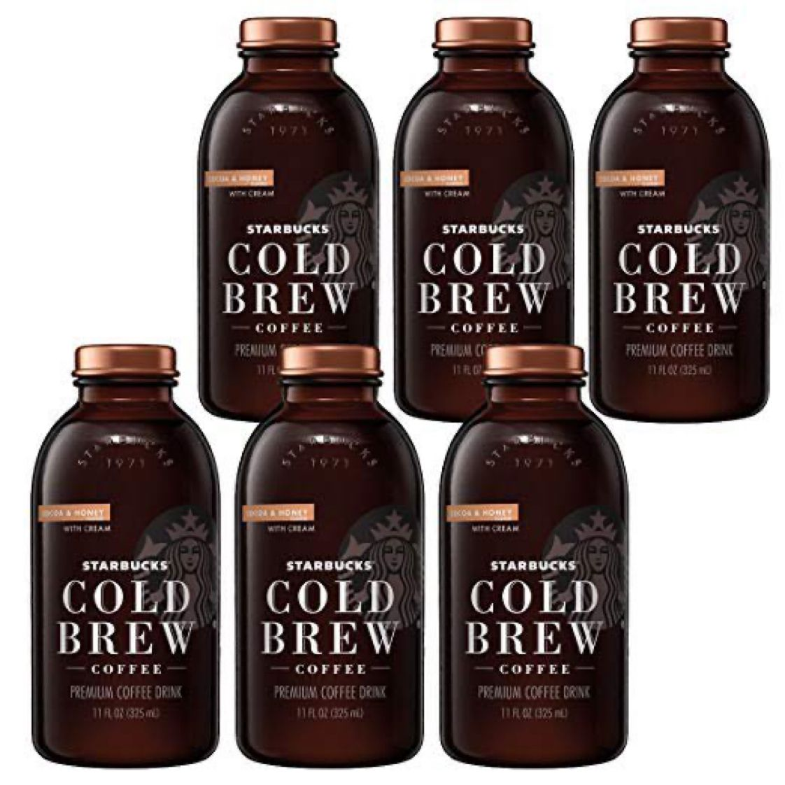 6 Pack - Starbucks Cold Brew Coffee, Cocoa & Honey with Cream, 11 Fl oz Glass Bottles  $12.21 with Free Prime Shipping   #steals #deals #stealsanddeals