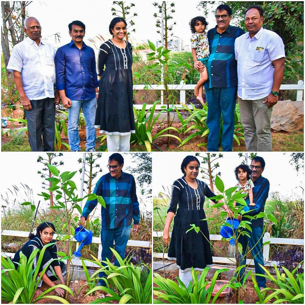 Producers #AshwiniDutt garu and Priyanka Dutt take up the #GreenIndiaChallenge by @MPsantoshtrs  Planted 3 saplings and nominated @TheDeverakonda @NameisNani, @Ragavendraraoba, #KVRao (Kakinada Port) and #DrJayanthi<br>http://pic.twitter.com/A2l9NA0pxk