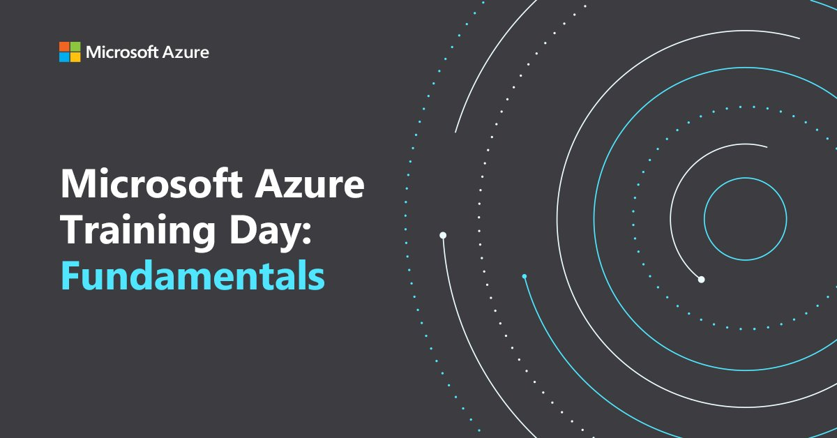 The illustration on the right showcases dotted analytics on a black background and on left the session name is Microsoft Azure Training Day: Fundamentals.