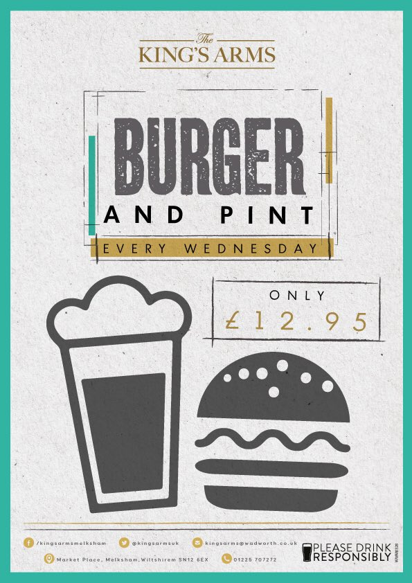 Burger & a pint for just £12.95! Every Wednesday, lunch and dinner! #offer #lunch #dinner #melksham #wadworth #walterrose #deal #bargain