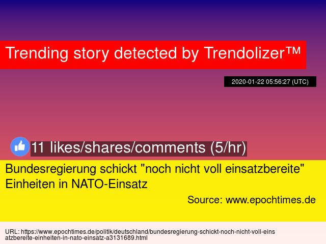 """Bundesregierung schickt """"noch nicht voll einsatzbereite"""" Einheiten in NATO-Einsatz http://nato.trendolizer.com/2020/01/bundesregierung-schickt-noch-nicht-voll-einsatzbereite-einheiten-in-nato-einsatz.html…pic.twitter.com/fsYqcz0Xbz"""
