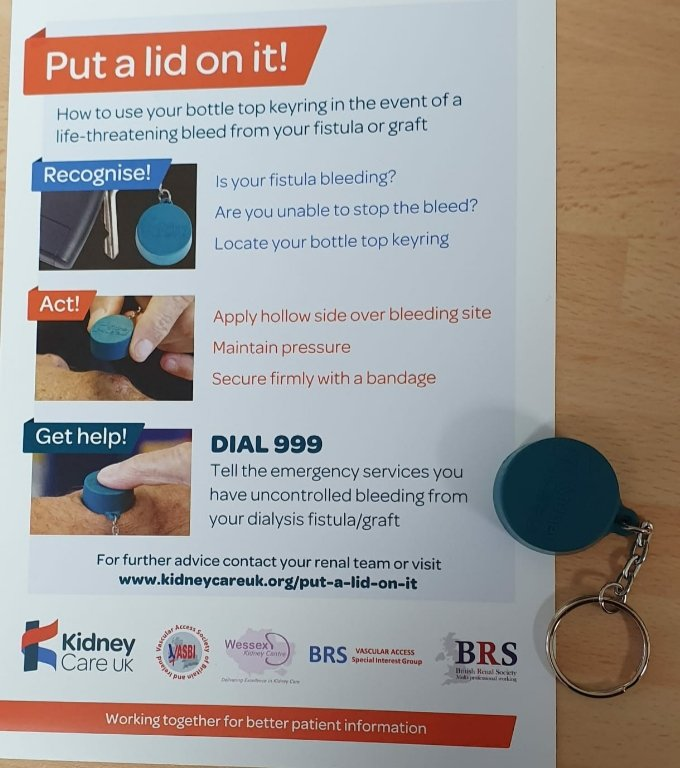 Calling all #patients and #renal staff , bottle top key rings available to stem flow from bleeding graft or fistula @KidneyTeam @nkf @kidneycareuk @NHSEnglandPX @PatientsAssoc @DialysisBio @DialysisAtHome @UKDC19 https://t.co/pFv6iUGDeU