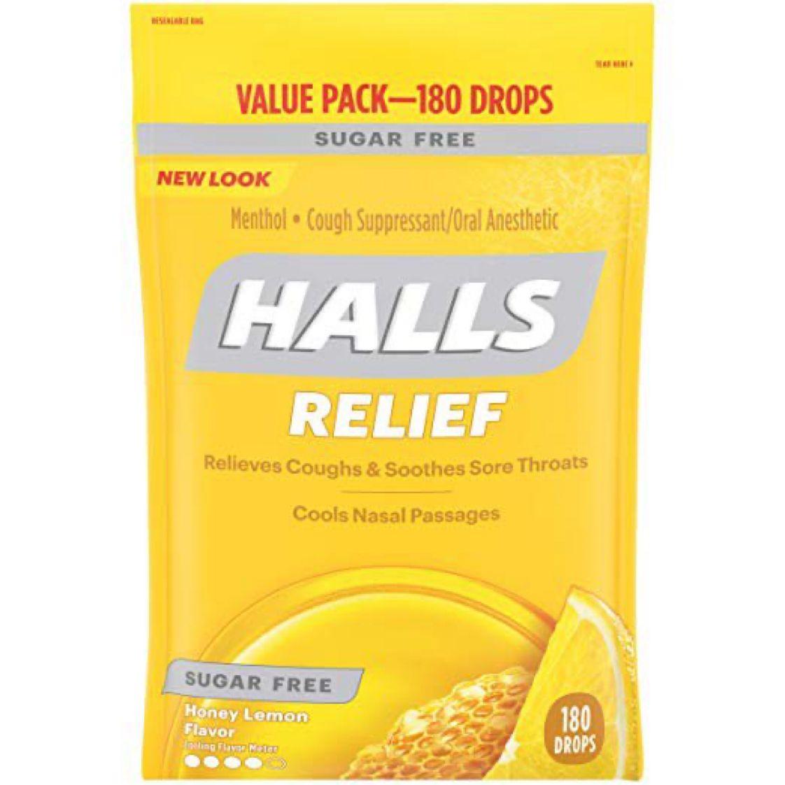 Halls Sugar Free Cough Suppressant, Honey-Lemon, 180-Drop Bag   $6.53 with Free Prime Shipping   #steals #deals #stealsanddeals
