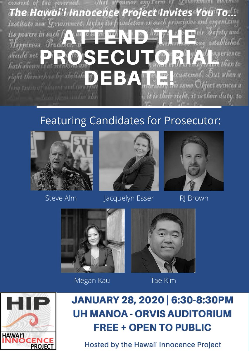 Image for the Tweet beginning: Honolulu City Prosecutorial Debate (Co-moderated