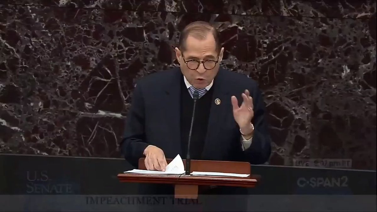 """Ambassador Bolton has made clear that he is ready, willing and able to testify about everything he witnessed. But President Trump does not want you to hear from him. The reason has nothing to do with executive privilege, nothing to do with national security."" - @RepJerryNadler"