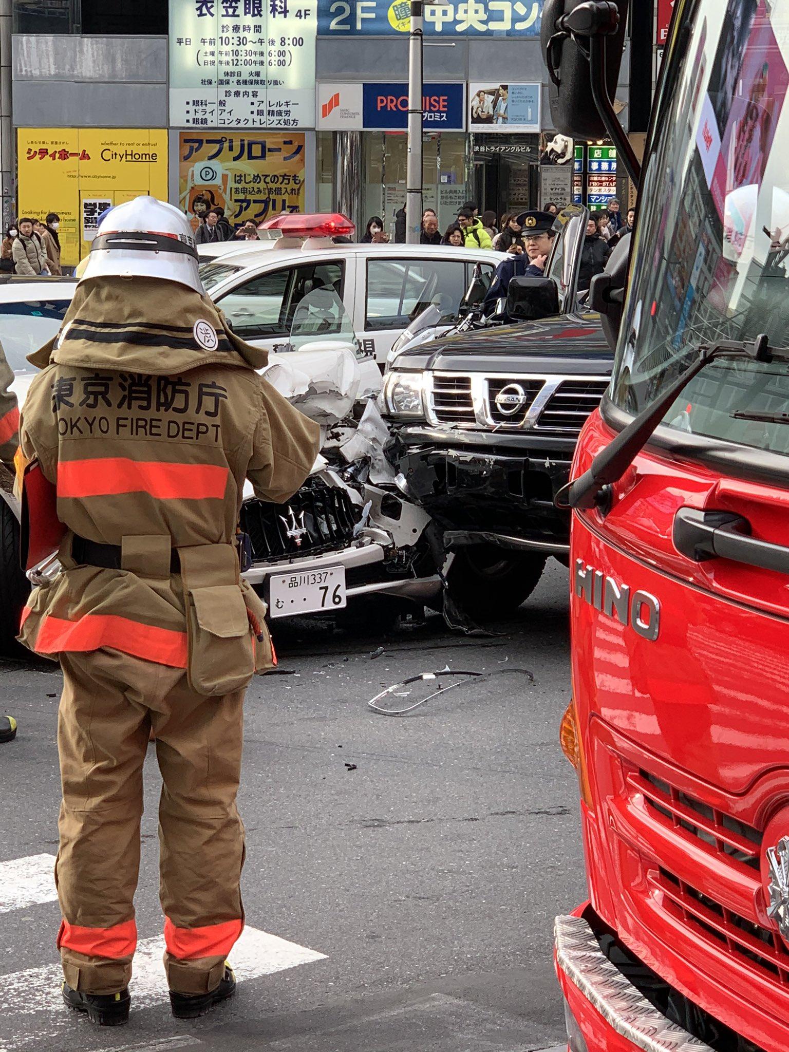 渋谷の宮益坂交差点で事故が起きた現場の画像