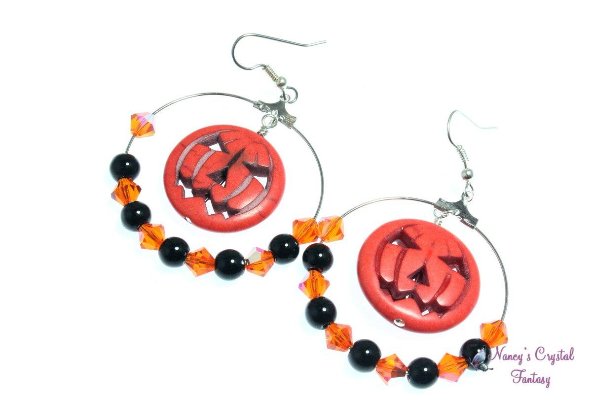 Howlite Jack-o-Lantern Hoop Earrings, Large Pumpkin Earrings, Halloween Earrings https://etsy.me/2q3pSBK #emnttM #jetteam #etsymnttpic.twitter.com/vB6RRoGn3G