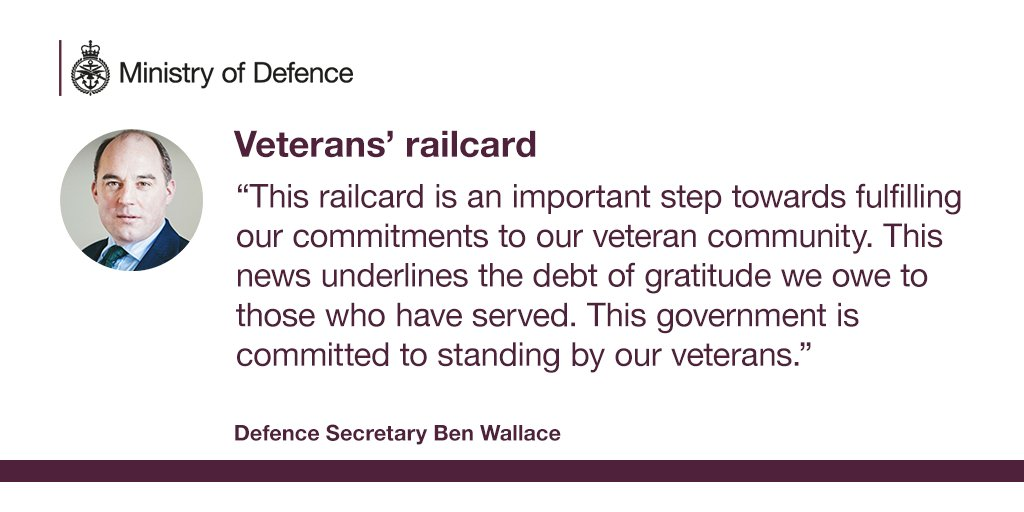 A new veterans' railcard will help hundreds of thousands of former personnel save on rail fares. The money-saving card will improve access to jobs and keep former service personnel in touch with family and friends. Defence Secretary @BWallaceMP welcomed the new scheme today.