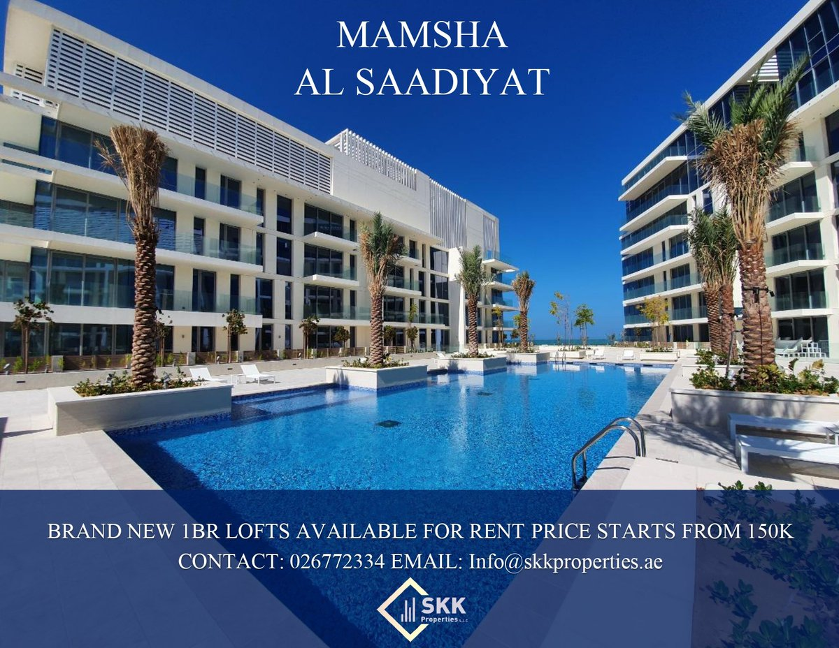 Beautiful 1BR Lofts with Sea Views available for rent starting price 150k.  Call us today to grab this amazing offer.  Contact: 026772334 Email: info@skkproperties.ae  #UAE #abiduabi #Properties #Apartments #Good #realty #brokerage #realestate #listing #greatvalue #Realtors #NAR https://t.co/fYGVUZUBD5