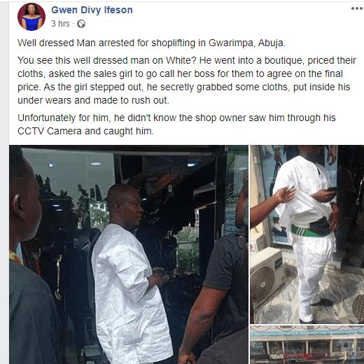 Photo Of Man Caught Shoplifting In Gwarimpa #Nigeria, #News https://infotrustng.com/2020/01/22/photo-of-man-caught-shoplifting-in-gwarimpa/…