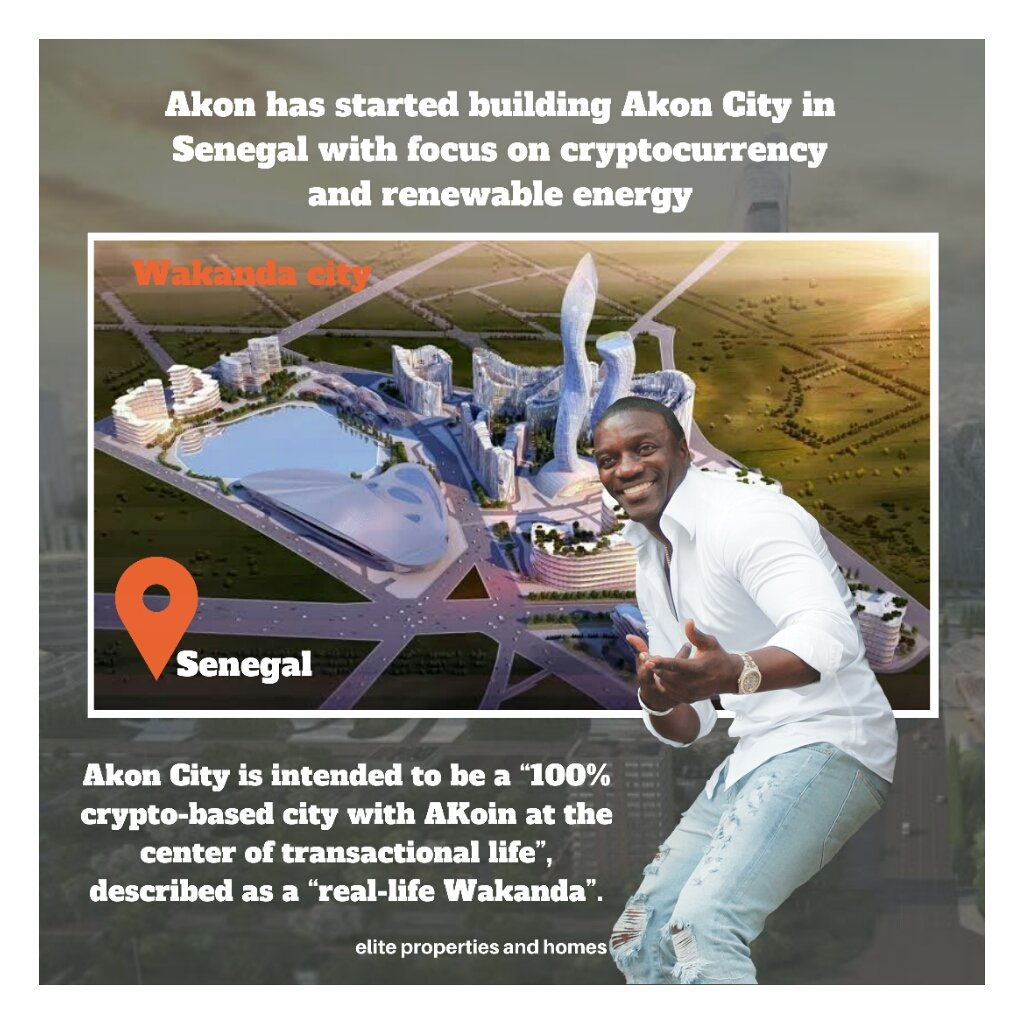 """Akon is building a 2,000-acre """"Akon City"""" in the West African country, which he has said will be like a """"real life Wakanda,"""" a reference to the futuristic African country in the 2018 film, """"Black Panther."""" The city will run entirely on Akoin.  #africa #nigeria #lagos"""