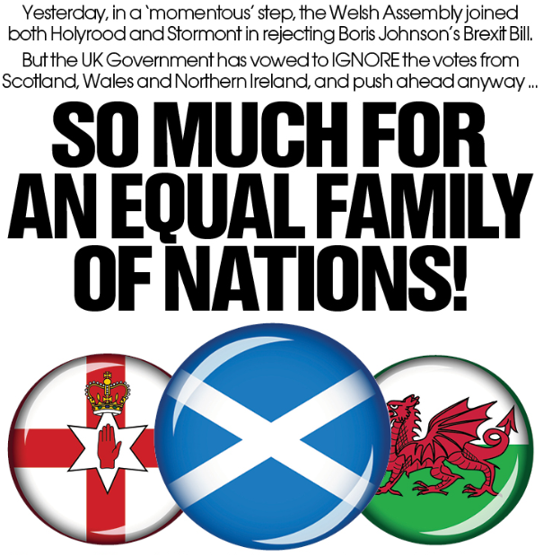 This morning in  'The National': 'So much for an Equal Family of Nations!'Time to divorce London, and return home to our own kin, our own governments. THEN form a partnership / union with the other smaller nations including the Rep. of Ireland.#IndyWales #indyref2 @YesCymru