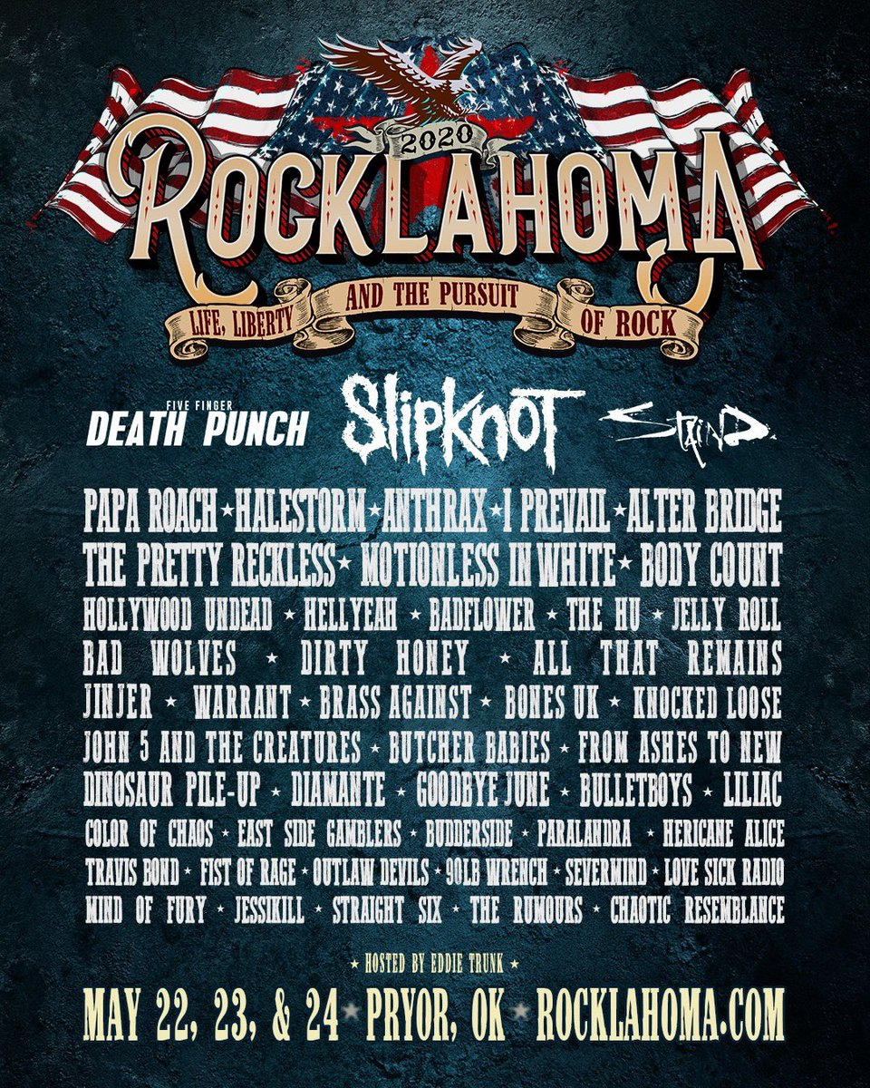 .@Rocklahoma May 22-24 // Pryor, OK Early Bird Passes On-Sale Friday rocklahoma.com