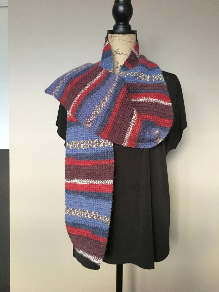 Excited to share this from my #etsy shop: Alpaca Multi-Color Crochet  Scarf, Wool Crochet Scarf, Wool Neck Warmer, Multi-Color Wool Neck Warmer, Alpaca Blend  #accessories #scarf #blue #brown #yes #preppy #alpaca