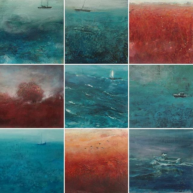 A range of my work available at the beautiful @whitehorsegallery Banbury.  All framed.  #framedpaintings #landscapes #seascapes #mixedmediaoninstagram #oils #blue #jowadeartist #contemporary_art #banbury #galleriesoninstagram #gallerywalls #oxfordshire