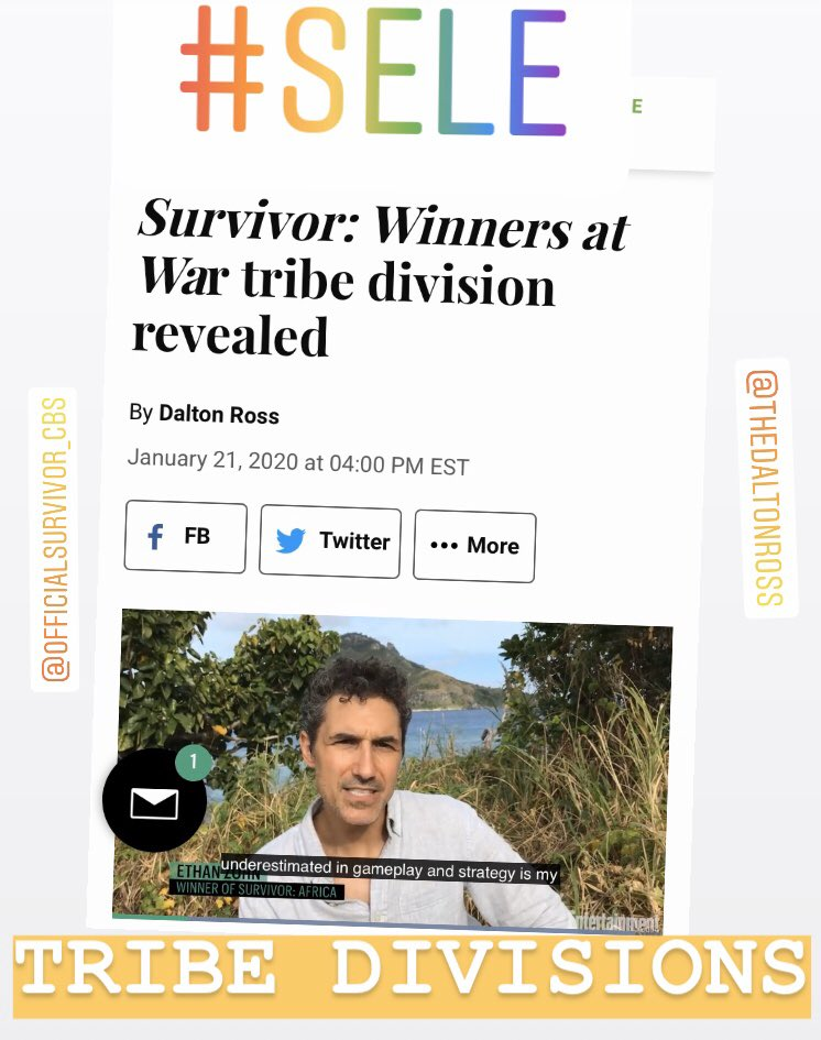 Winners At War Tribes Revealed!!!! GAME ON!!!!!! #survivor @survivorcbs @DaltonRoss #Sele #BLUE