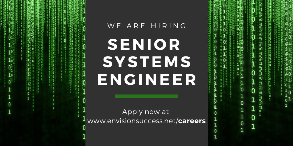 We are #hiring! Seeking a Senior Systems Engineer to join our growing team.   Join one of Rhode Island's Best Places to Work. Learn more and #apply today: https://www.envisionsuccess.net/our-company/careers/senior-systems-engineer…  #jobs #careers #techjobs #techcareers #engineeringjobs #engineeringcareers #bestplacetoworkpic.twitter.com/ayRv81F7vw