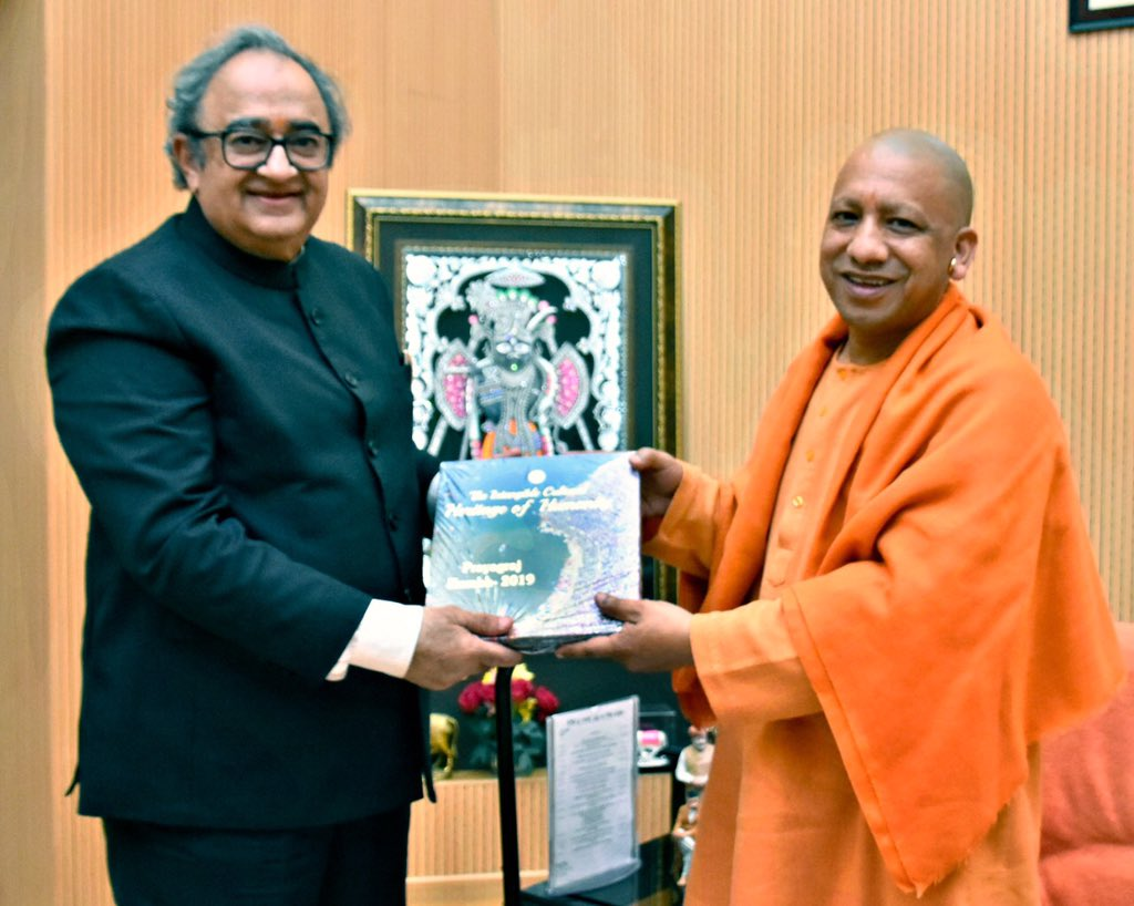 Had the privilege of meeting the Honourable Chief Minister of U.P. Shri @mYogiAdityanath in Lucknow today. He shared his viewpoint on the history and heritage of Hindustan, and the significance of #Ayodhya and #RamJanambhoomi to India's ethos.