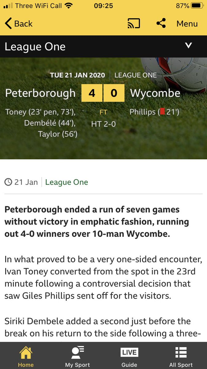 Mind you, watching the morning's sports news you'd think only the Premier League had fixtures yesterday. The Posh thrashed The Chairboys in #EFL #LeagueOne for a start!pic.twitter.com/QEXUnIq2pX