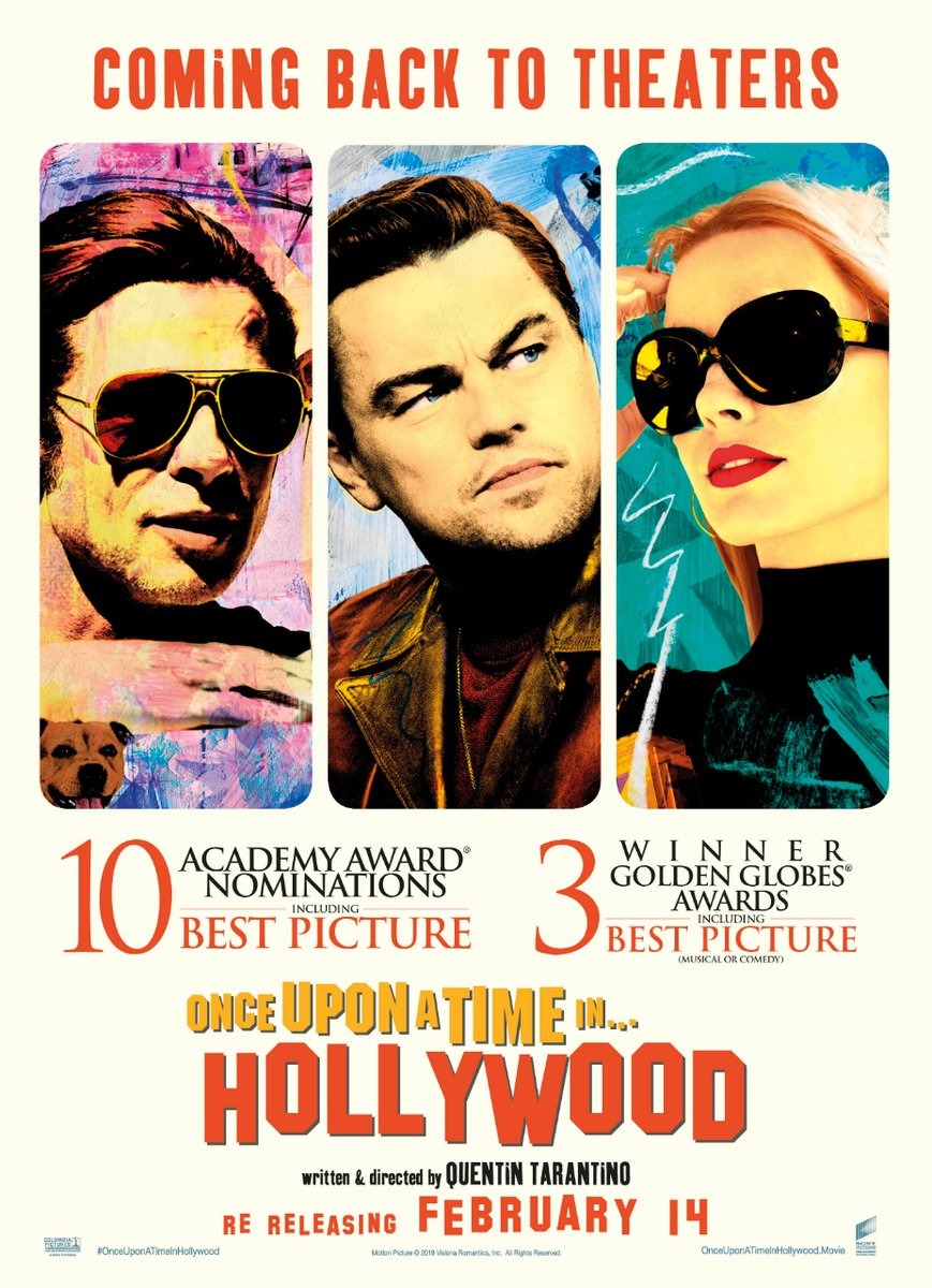 And the icons are back... Sony Pictures Entertainment India to *re-release* #OnceUponATimeInHollywood on 14 Feb 2020. <br>http://pic.twitter.com/jpaD6hntgE