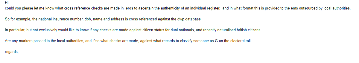 Have just sent an email to @ElectoralCommUK regarding dual nationals and recently naturalised British Citizens. Many registered, but when they went to vote they were told they were (wrongly) categorised as type G, and were turned away #ElectoralFraud. Please also enquire