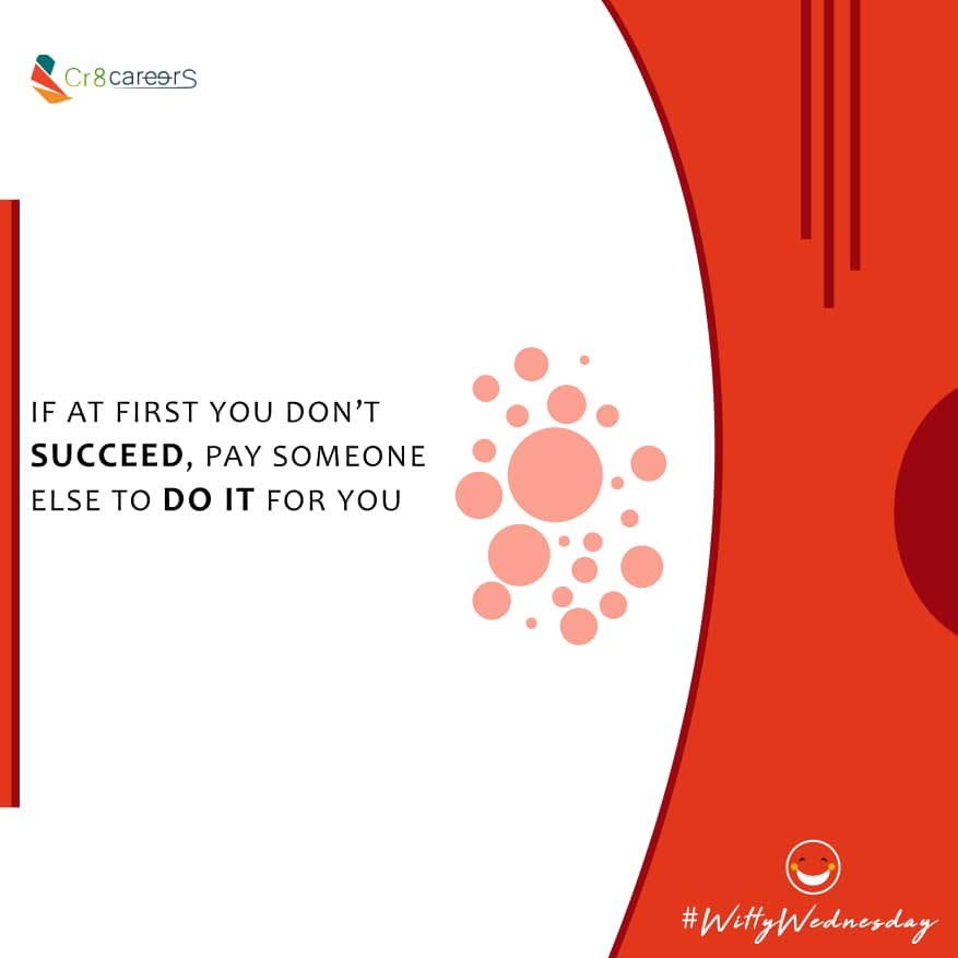 Pay Someone Else To Do It #WittyWednesday . Follow Us Today To Stay Connected To Our Services @Cr8careers . #Recruitment #Outsourcing #Assessments #OccupationalInterests #HRNigeria #ImpeachmentDay #CreativeHappyLife #CreativeBiz #Tinubu #Dino #Witty #Wednesdaywisdom #WeDontDoBpic.twitter.com/5iAMrKt16b