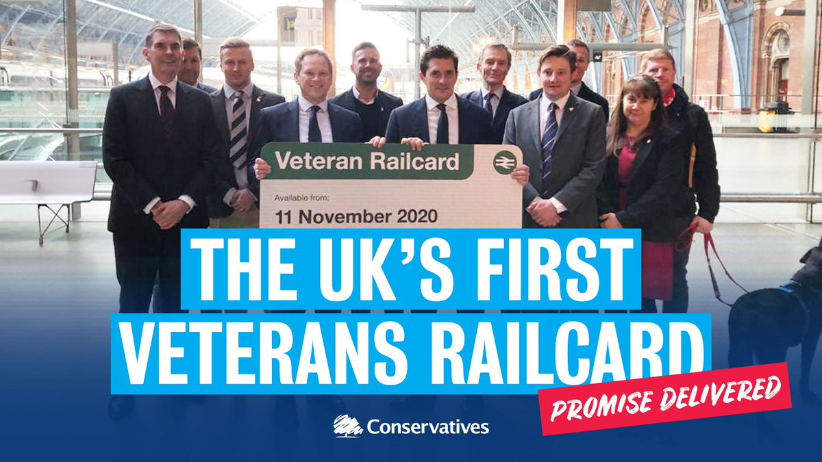 📢🔵 We're introducing the UK's first ever #VeteransRailcard to help boost veterans' job prospects and strengthen family bonds through cheaper travel.👍 A third off their fares.📅 Available from Armistice Day this year.🇬🇧 Part of our new veterans strategy.