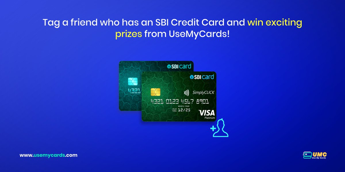 Here's another chance to win something cool and exciting from #UseMyCards. All you have to do is tag a friend who has an SBI Credit Card.  2 winners will be randomly selected.  #Deals #tagafriend #ContestAlert #contestgiveaway #contesttime #Contest #Discount #SBI #GiveawayAlert<br>http://pic.twitter.com/id1tG2ZLxo