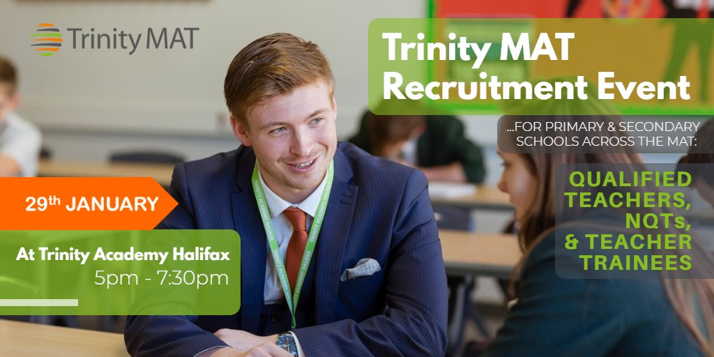 Just a week to go! Come along to our recruitment event on the 29th January and discover the benefits of working with Trinity MAT. Register at https://t.co/XMZK0hEZIK   #TeacherRecruitment #EduTwitter