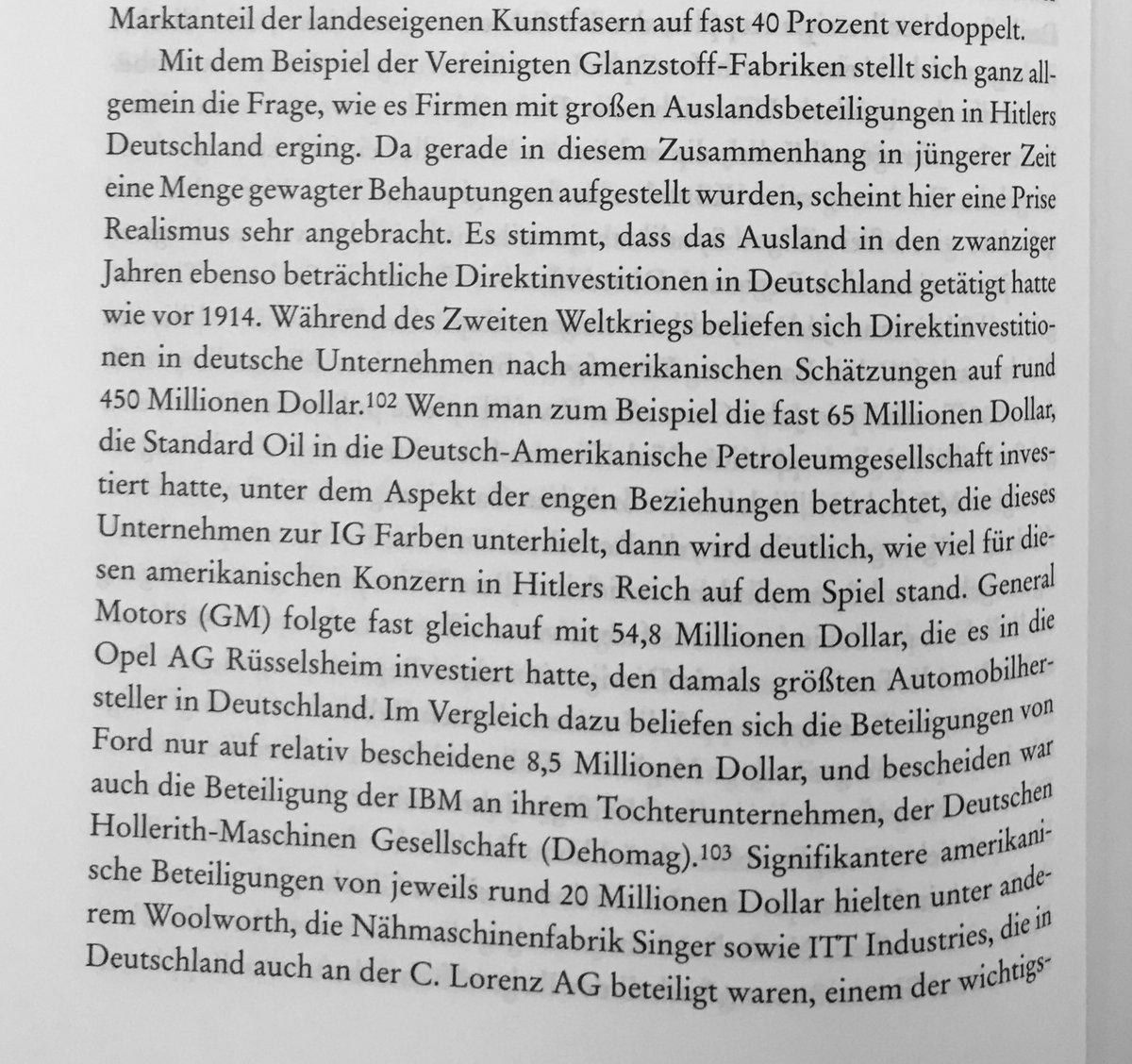 Die Fragen nach einer ausländischen Finanzierung Hitlers oder das System der Zwangsarbeiter bräuchten wahrscheinlich einen eigenen Thread.  Der Wirtschaftshistoriker Adam Tooze gibt in seinem Buch Ökonomie der Zerstörung (S. 164-166) einen Ausblick auf die Verflechtung (13) pic.twitter.com/qXNk20wOMk