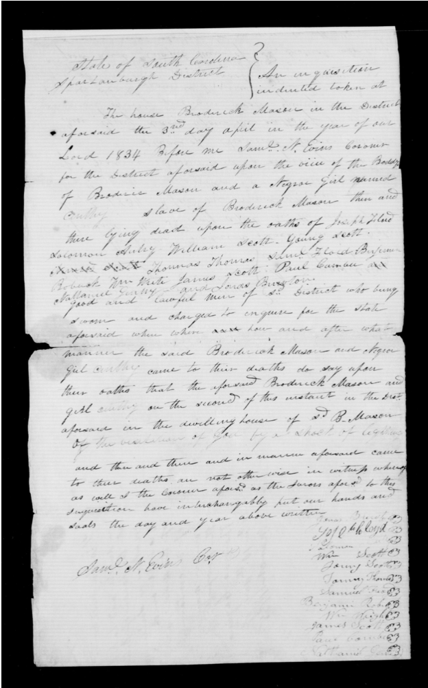 """April 3, 1834: """"do say upon their oaths that the aforesaid Broderick Mason and girl Cinthy [were killed by] the visitation of God by a shock of lightning."""" https://t.co/g81GU4qMmI #historyhighlight #race #slavery #inequality #inquest #southernhist #americanhist #southcarolina https://t.co/by3yjVk3tT"""