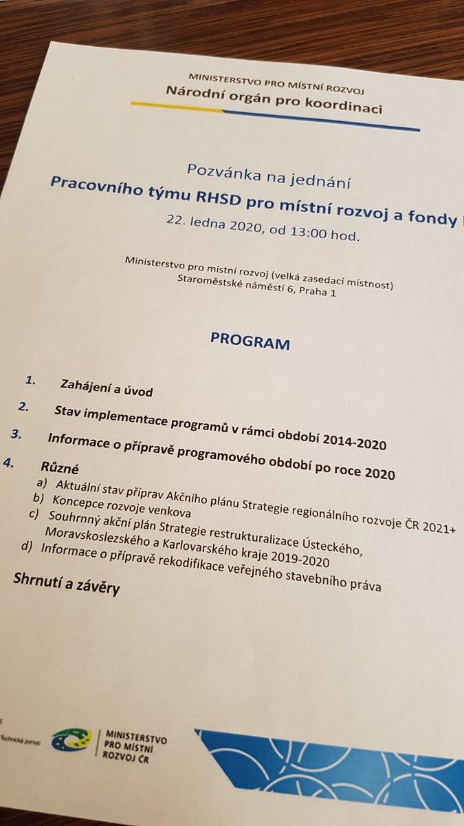 Na @mistnirozvoj aktuálně probíhá jednání pracovního týmu #tripartita pro místní rozvoj a fondy EU. Sociální partneři se dnes sešli, aby společně diskutovali přípravu programového období po roce 2020, řeší se i rekodifikace stavebního práva, rozvoj venkova nebo program RE:START.