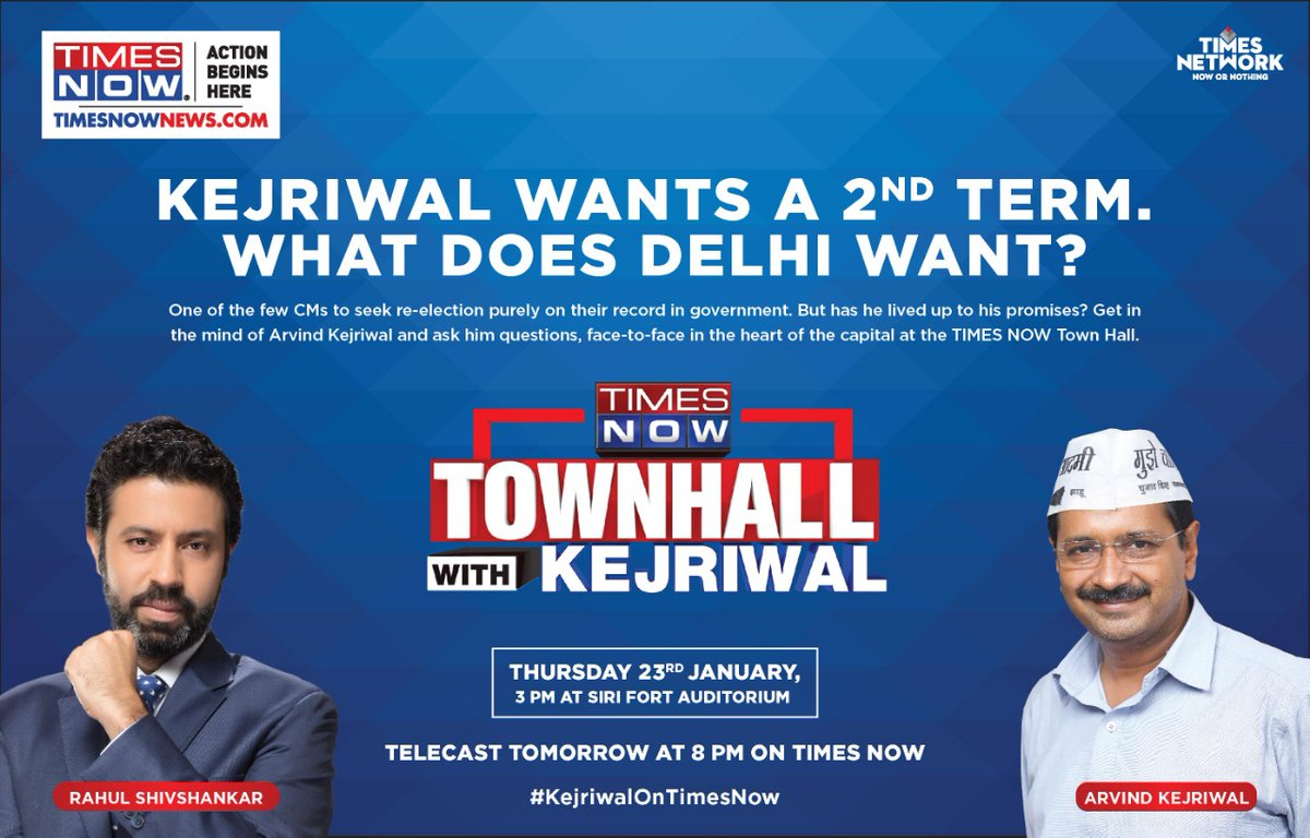 #KejriwalOnTimesNow | @ArvindKejriwal wants a 2nd term, what does Delhi want? TIMES NOW Townhall with Arvind Kejriwal on Jan 23, 2020. Ask the questions you want Kejriwal to answer. Your questions will be taken LIVE. | Tweet with #KejriwalOnTimesNow *Telecast at 8pm.