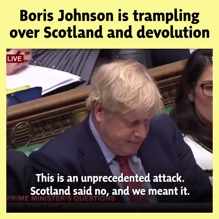 🏴󠁧󠁢󠁳󠁣󠁴󠁿 Boris Johnson hasnt accepted the reality that Scotland wont just get back in the box and accept his extreme Brexit deal. ❌ Scotland said no to Brexit, and we meant it. #PMQs