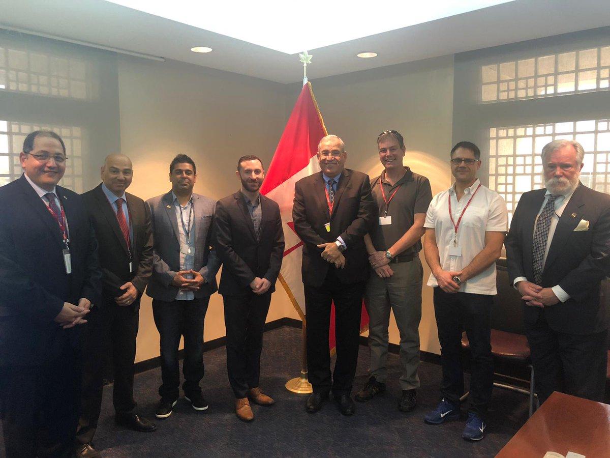 Séance d'information à l'ambassade du Canada pour la mission de santé de l'Ontario durant leur visite au Koweït. @ontario_SDC  @ongouv  @Raed_Bishara #Canada #Koweït