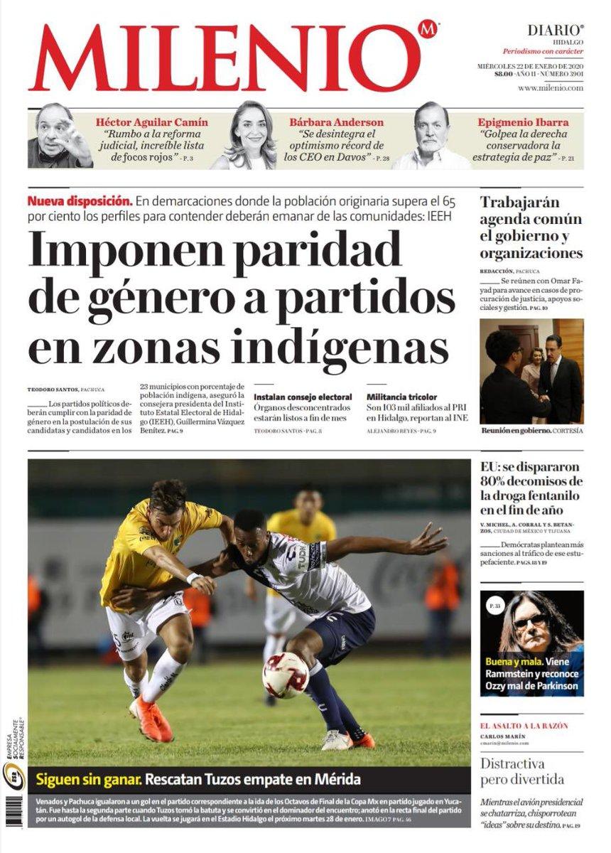 #FelizMiércoles 🗞 Comienza el día con la mejor información que #Milenio trae para ti en la edición de este 22 de enero.