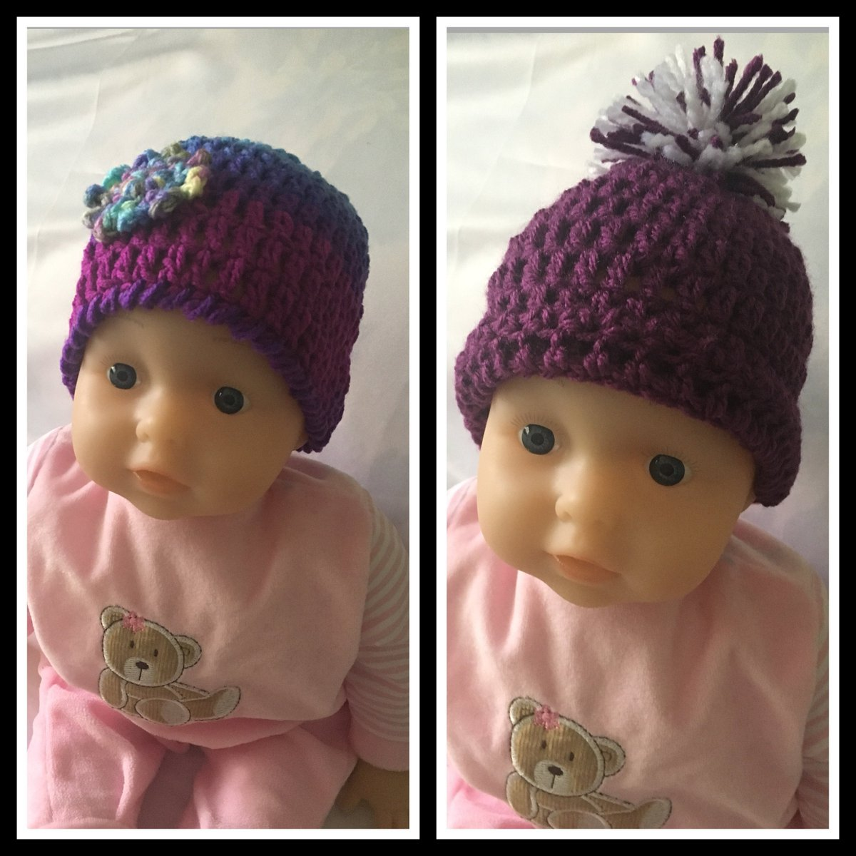 Excited to share this from my #etsy shop: Set of Two Purple Crochet Baby Beanies, Newborn Hats, Baby Photo Prop, Baby Shower Gift, Baby Beanie with Flower and Pom Pom  #accessories #purple #blue #babybeanies