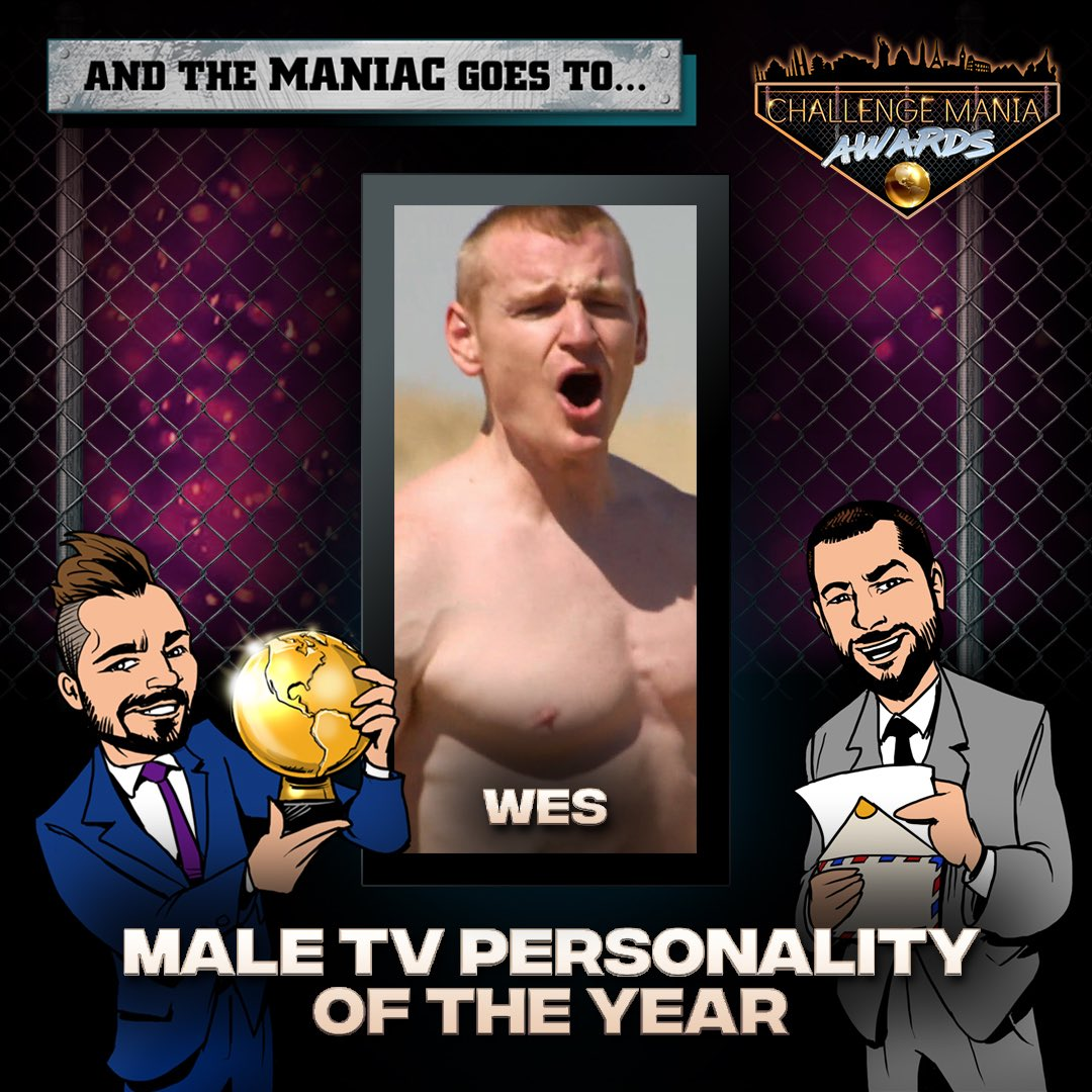 🎊And the #ChallengeMania Award for MALE TV PERSONALITY OF THE YEAR goes to...  WES!!!! (@WestonBergmann)  🌕🌕🌕🌕🌕🌕🌕🌕🌕  *Shouts to @JohnRyanVisuals for the awesome Graphics!  #TheChallenge33 #TheChallenge34 #ChallengeManiaAwards